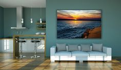 Sunset Sea Print Sunset Ocean Sea Wall Decor by anasgraphic
