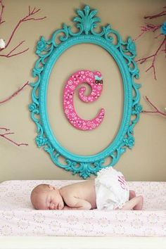 Love this monogram and antique frame-@Erica Cerulo Cerulo Cerulo Cerulo Cerulo Heline for your photography and/or baby girl #4's room??!!