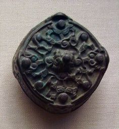 8-9th C. Gotland. Copper alloy box brooch; single-piece construction; side panels with cast degenerate Style III and Gripping-Beast animal motifs decoration; ...