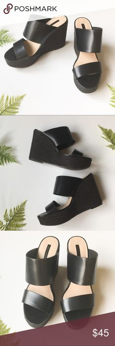 """Zara Espadrille Wedge Sandals Platform wedge Espadrilles from Zara featuring two thick black straps. In superb condition, only worn once!4.5"""" heel height. Zara Shoes Wedges"""