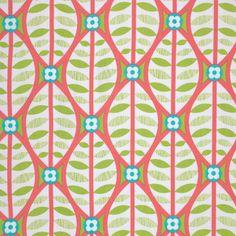 Erin McMorris Fabric - La Dee Da - Free Spirit - Buttonwood in Coral EM-38  - Modern Fabric - Quilt Fabric - Green Leaves - 1 yard. $9.25, via Etsy.