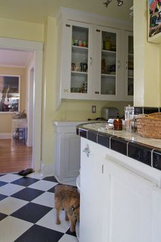 Pale yellow kitchen. Good paint color to keep in mind.