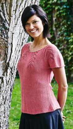 Gratis strikkeopskrift   Taljeret bluse med rundt bærestykke