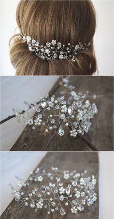 Bridal Pearl and Crystal Hair Vine Crown Wedding by NovaHandmade