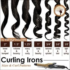 curling iron curl sizes is part of Curly hair styles - Above you can find a chart (infographic) that we created with common curling iron curl sizes that can be achieved with 7 different barrel irons on the market Curling Iron Size, Curling Iron Curls, Flat Iron Curls, Short Hair Styles, Natural Hair Styles, Curl Hair Styles, Natural Wigs, How To Curl Your Hair, Hair Beauty