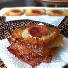 WONTON PIZZA CRISPS   Makes 12 crisps  Ingredients --- 12 wonton wrappers  non-stick cooking spray  1 cup shredded mozzarella cheese   1/2 teaspoon Italian seasoning  12 pepperoni slices