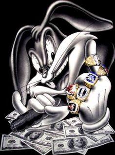 Steelers & my man Bugs Bunny, 2 of my favorite things together! Dope Cartoons, Dope Cartoon Art, Looney Tunes Cartoons, Disney Cartoons, Arte Lowrider, Gangsta Tattoos, Bunny Tattoos, Bunny Images, Steeler Nation