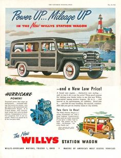 "1950 Willys Station Wagon ""Woody"" Ad Hurricane Engine More Power Mileage 