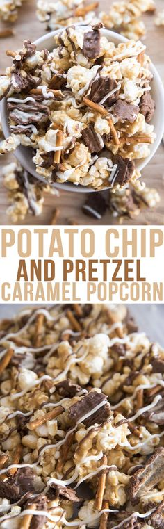 This potato chip and pretzel caramel popcorn is the perfect sweet and salty treat! Gooey caramel popcorn full of salty pretzels, salty and sweet chocolate dipped potato chips and drizzled in more milk and white chocolate! #recipe