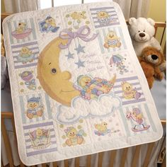 """Twinkle Twinkle Little Star Crib Cover Stamped Cross Stitch -34""""X43"""""""