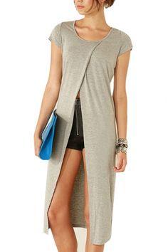 ac563e2eccc Light Gray Short Sleeve Split Front Longline T-Shirt Dress Boho Summer  Dresses