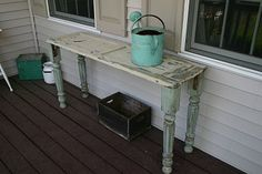 Primitive & Proper: Found Table Legs + Old Chippy Shutter = Awesome Table! Furniture Projects, Furniture Makeover, Wood Projects, Diy Furniture, Shutter Projects, Restoring Furniture, Antique Furniture, Craft Projects, Repurposed Items