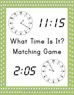 What Time Is It? Matching Game - Free download