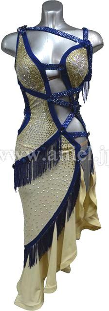 社交ダンスドレスのドレスネットアニエル / L1704・クリームイエロー&青・※試着不可