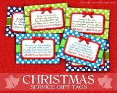 Christmas Service Gift Tags- free printable tags for doing random acts of kindness this Christmas