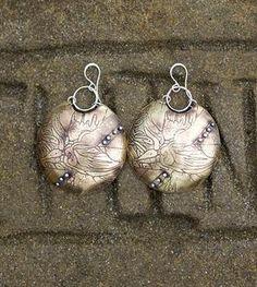 Violet Domed Brass Drop Earrings