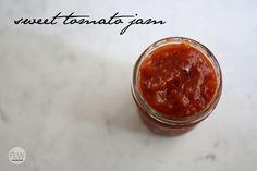 Tomato jam, for eating not preserving. Using honey and lemon juice