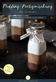 Homemade ready-made pudding mix as a gift plus free printable (contains advertising) - Small gifts from the kitchen keep friendship right? All you need for my homemade pudding mix to giv - Simple Gifts, Gourmet Recipes, Diy Gifts, Free Printables, Sweet Tooth, Presents, Chocolate Pudding, Foodblogger, Homemade Chocolate