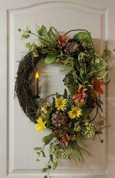 candle on wreath