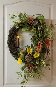 Spring/Summer Door Wreath Country Candle Lilies by FloralsFromHome, $155.00