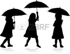 umbrella silhouette: Girl with umbrella