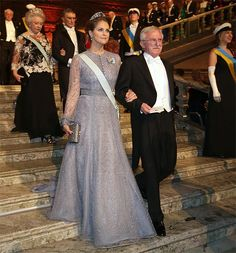 Pregnant Princesses Victoria and Sofia go for glamour at Nobel Prize Banquet