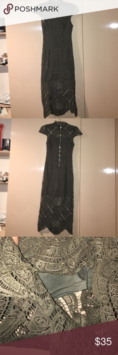 Gorgeous knitted dress Has underline. Knitted! Compliments body shape. Olive green. Wore once Dresses