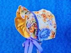 Baby Bonnet Orange Yellow Purple Reversible by AdorableandCute on Etsy