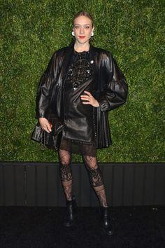 Chanel Fetes the Tribeca Film Festival Chloe Sevigny, Tribeca Film Festival, Pregnancy Looks, Lace Tights, Sienna Miller, Black Knees, Polo Neck, Cara Delevingne, Portrait