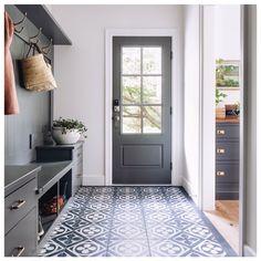 Shiplap Trim, Gray Shiplap, Mudroom Cabinets, Blue Shelves, Black And Grey Rugs, Grey Floor Tiles, Blue Backsplash, Transitional House, Built In Bench