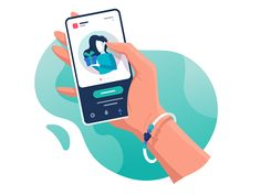Hand with phone application beautiful bracelet mobile woman hand cellphone kit8 flat vector illustration