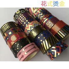 Beautirul Golden foil washi paper  tape/Color dot and wave and  Triangle Design washi  tape/15mm*10m-in Office Adhesive Tape from Office & School Supplies on Aliexpress.com | Alibaba Group