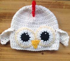 Crochet Baby Hat, ChickieHat, Baby Chicken Hat, Newborn Photo Prop, Infant Halloween Costume, Baby Costume, Newborn Costume, Infant by forgetmenotstudio on Etsy