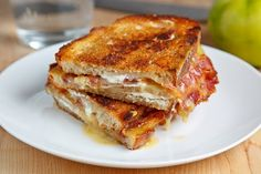 Grilled Brie and Goat Cheese Sandwich with Bacon and Green Tomato - except, swap the tomato for green onion. (with the green onion - this is one of my very favorite flavor combinations in the whole entire world. Amazing)
