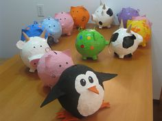 2011- Follow that bird!!! Paper mache piggy bank army