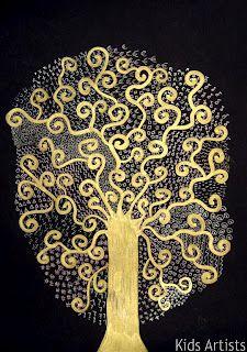 Crianças Artistas: árvore da vida, no estilo de Gustav Klimt