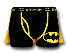 Can you see your favorite geek wearing this Batman briefs complete with cape? As seen on Fashionably Geek...