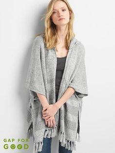 fa06b4c6ed218 Gap Womens Fringe Hooded Poncho Light Heather Grey Size One Size Gap  Outfits