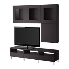 This is a great inspiration for what I could do for my entertainment center. ~ BESTÅ TV storage combination/glass doors - Vara black-brown - IKEA