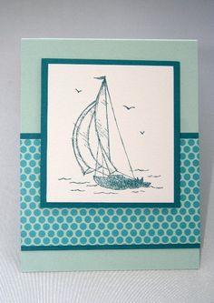 Indigo Blue Sailboat All Occasion Card, Masculine Birthday Card, Sailboat Birthday Note, Sailboat Greeting Card
