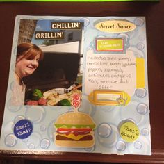 BBQ, me by the grill, Page 3: This is a 8 by 8 scrapbook page featuring summer time themed paper and BBQ stickers.