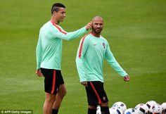 112fa3fb74 Cristiano Ronaldo and Quaresma share a joke as Pepe trains alone