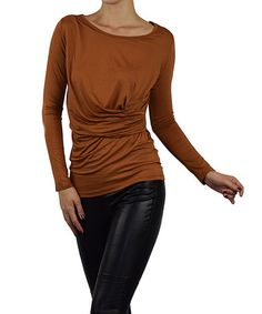 Look what I found on #zulily! Toffee Ruched Scoop Neck Top #zulilyfinds