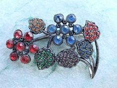 Vintage Signed LN Little Nemo rhinestone flower brooch AB853 by MeyankeeGliterz on Etsy
