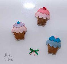 Lembrancinha de feltro para chá de panela. Aprenda a fazer com vídeo aula.  #craft #artesanato #diy #facavocemesmo #felt #cupcake