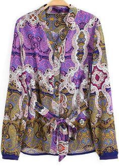 Purple Long Sleeve Totem Print Chiffon Blouse - Sheinside.com