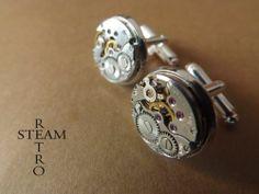 Gemelos Steampunk, complementos steampunk, mecanismos de relojes antiguos