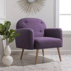 Archer Mid Century Modern Fabric Arm Chair