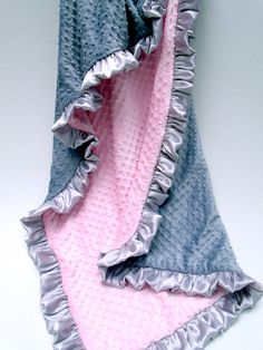 Pink and Gray Minky Baby Blanket by MinkyBabyGifts on Etsy, $26.00