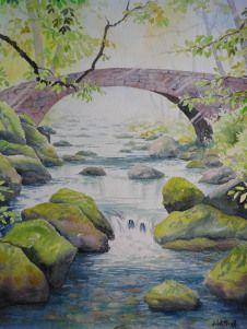 Le vieux pont de pierre (30 x 40 cm)